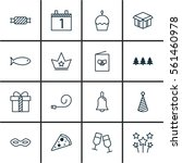 set of 16 new year icons.... | Shutterstock .eps vector #561460978