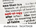 Small photo of Closeup of English dictionary page with word aetiology