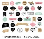 Stock vector hand drawn vector handmade craft knitting and art labels tags with lettering 561472003