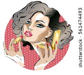 pin up woman makes makeup ... | Shutterstock .eps vector #561474493