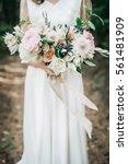 beauty wedding bouquet in bride'...   Shutterstock . vector #561481909