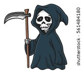 grim reaper cute cartoon... | Shutterstock .eps vector #561484180