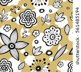 seamless pattern with flowers.... | Shutterstock .eps vector #561485194