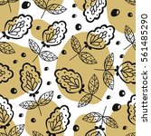 seamless pattern with foliage.... | Shutterstock .eps vector #561485290