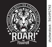 tiger fighter typography  tee...   Shutterstock .eps vector #561491743