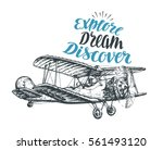 retro biplane. airplane sketch. ... | Shutterstock .eps vector #561493120