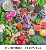 clean eating concept over grey... | Shutterstock . vector #561497518