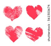 set of hand paint vector hearts ... | Shutterstock .eps vector #561503674