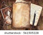 vintage watercolor mockup.... | Shutterstock . vector #561505228