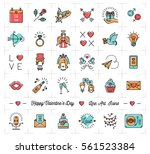 valentine icon set  flat design ... | Shutterstock .eps vector #561523384