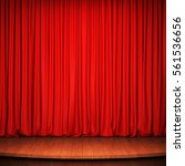 stage with red curtain and... | Shutterstock . vector #561536656