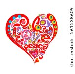 heart shape with hippie... | Shutterstock .eps vector #561538609