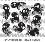 vector set with cartoon octopus ... | Shutterstock .eps vector #561546508