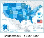 usa road map in colors of blue...   Shutterstock .eps vector #561547354