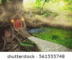 fairy tree house in fantasy... | Shutterstock . vector #561555748