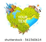 heart shape map concept with... | Shutterstock .eps vector #561560614