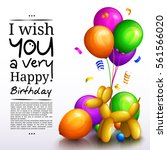 happy birthday greeting card.... | Shutterstock .eps vector #561566020