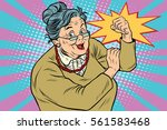 granny old lady we can do it.... | Shutterstock .eps vector #561583468