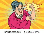 granny old lady we can do it.... | Shutterstock .eps vector #561583498