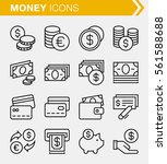 set of thin line money icons....