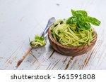 Raw Zucchini Pasta On White...