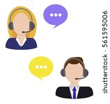 call center woman and man... | Shutterstock .eps vector #561595006