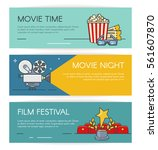 cinema horizontal banners set... | Shutterstock .eps vector #561607870