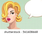 pin up style surprised woman... | Shutterstock .eps vector #561608668