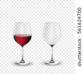 wine glass  empty and with red... | Shutterstock .eps vector #561624700