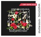 vintage floral graphic design.... | Shutterstock .eps vector #561626944