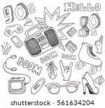 hello 80s 90s. retro elements... | Shutterstock .eps vector #561634204