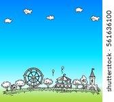 panorama park  an amusement... | Shutterstock .eps vector #561636100