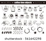hand drawn coffee time objects... | Shutterstock .eps vector #561642298