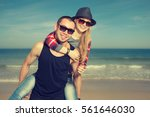 happy loving couple having fun... | Shutterstock . vector #561646030
