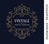 vintage golden art frame.... | Shutterstock .eps vector #561655414