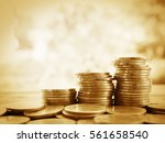 stack of money  rows of coins... | Shutterstock . vector #561658540