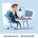 happy office worker character... | Shutterstock .eps vector #561662620