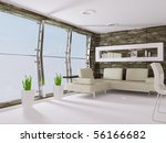 modern interior room with... | Shutterstock . vector #56166682