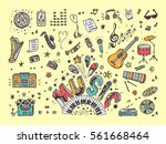 vector music icons set. hand... | Shutterstock .eps vector #561668464