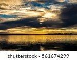 Yellow Sunset Over Lake...