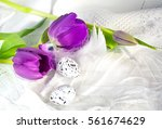 pink tulips and easter eggs to... | Shutterstock . vector #561674629