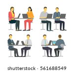 two workers at the table.... | Shutterstock .eps vector #561688549