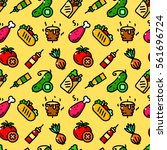 shawarma seamless pattern with...   Shutterstock .eps vector #561696724