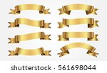 set of golden ribbons on gray... | Shutterstock .eps vector #561698044