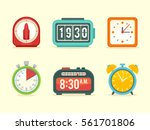 flat clock icons set with...   Shutterstock .eps vector #561701806