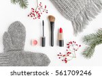 winter accessories collage with ... | Shutterstock . vector #561709246