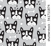 seamless french bulldog pattern ...   Shutterstock .eps vector #561711874