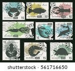 Set Of Postage Stamps On The...