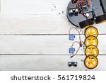 robot with wheels and the... | Shutterstock . vector #561719824