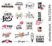 set of valentine day stickers... | Shutterstock .eps vector #561725194